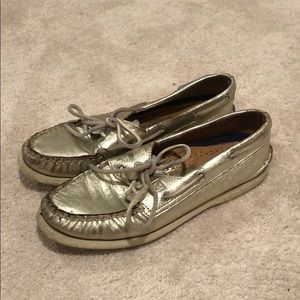 Gold metallic Sperry Boat Shoes